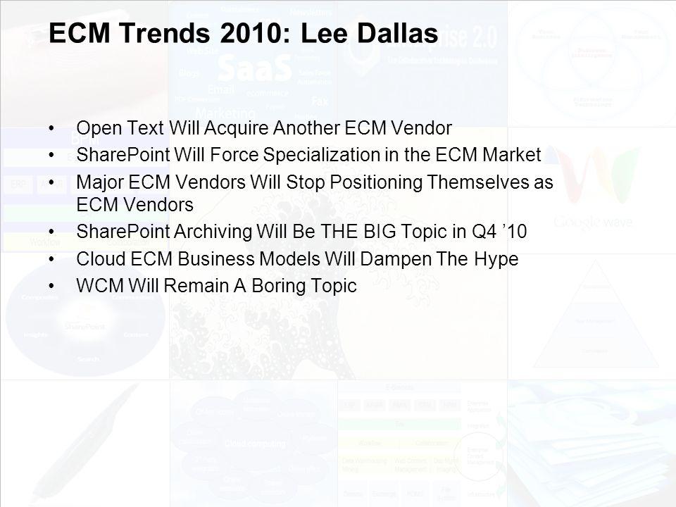 39 EIM Update und Trends 2010 Dr.Ulrich Kampffmeyer PROJECT CONSULT Unternehmensberatung Dr.