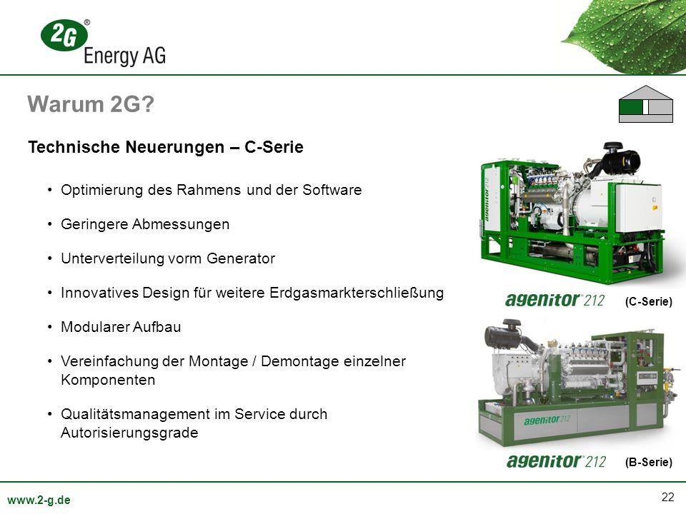 22 www.2-g.de (C-Serie) Technische Neuerungen – C-Serie Optimierung des Rahmens und der Software Geringere Abmessungen Unterverteilung vorm Generator