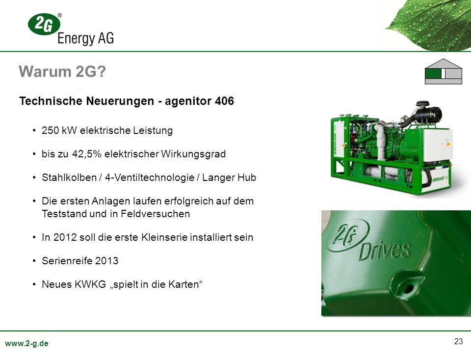 23 www.2-g.de Technische Neuerungen - agenitor 406 250 kW elektrische Leistung bis zu 42,5% elektrischer Wirkungsgrad Stahlkolben / 4-Ventiltechnologi