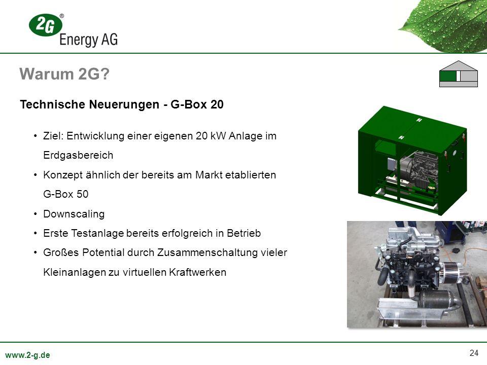 24 www.2-g.de Technische Neuerungen - G-Box 20 Ziel: Entwicklung einer eigenen 20 kW Anlage im Erdgasbereich Konzept ähnlich der bereits am Markt etab