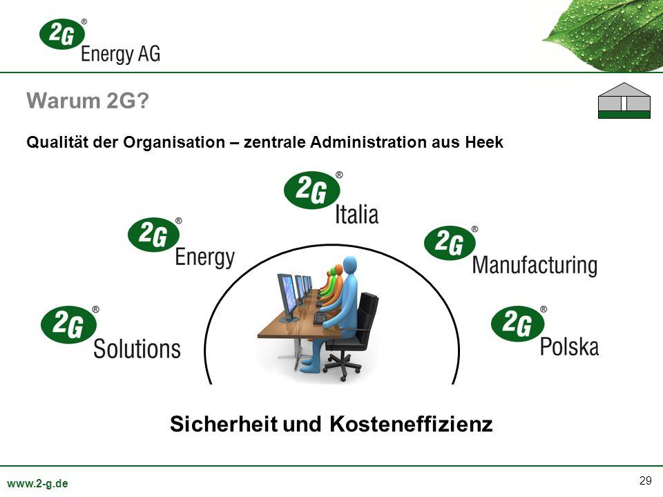 29 www.2-g.de Qualität der Organisation – zentrale Administration aus Heek Sicherheit und Kosteneffizienz Warum 2G?