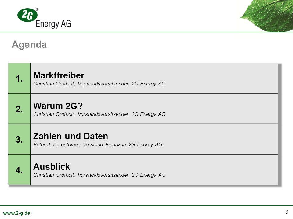 44 www.2-g.de Geplante Verdopplung der Absatzzahlen bis 2015 Anzahl Verkaufte Anlagen Ausblick Kapazität Gepl.