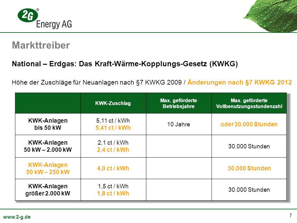 7 www.2-g.de National – Erdgas: Das Kraft-Wärme-Kopplungs-Gesetz (KWKG) Höhe der Zuschläge für Neuanlagen nach §7 KWKG 2009 / Änderungen nach §7 KWKG