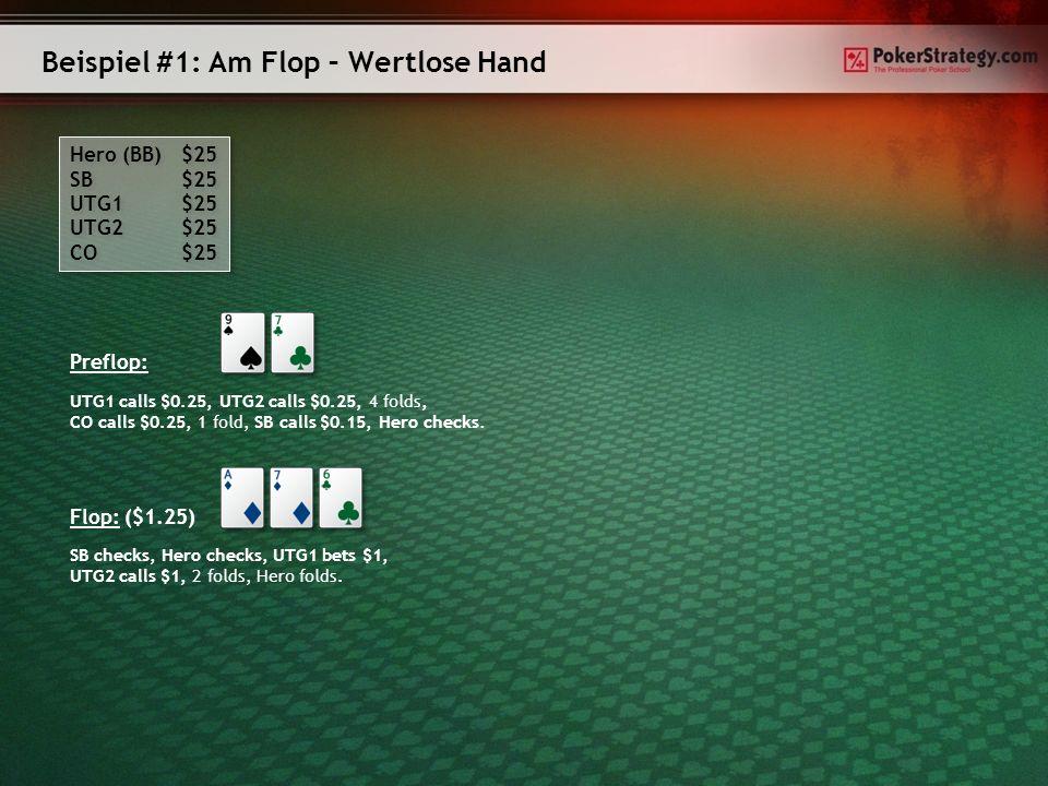 Beispiel #7: Am Turn – Mittelstarke gemachte Hand Hero (BB) $25 SB $25 CO $25 Hero (BB) $25 SB $25 CO $25 Preflop: Flop: ($0.75) SB bets $0.5, Hero calls $0.5, SB calls $0.5.