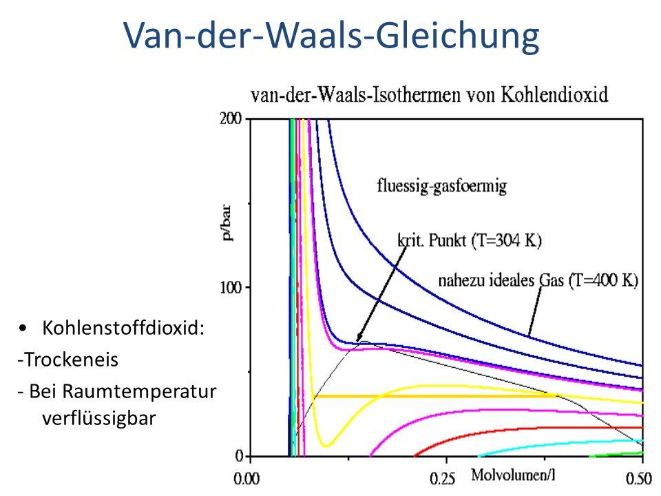 Van-der-Waals-Gleichung Kohlenstoffdioxid: -Trockeneis - Bei Raumtemperatur verflüssigbar
