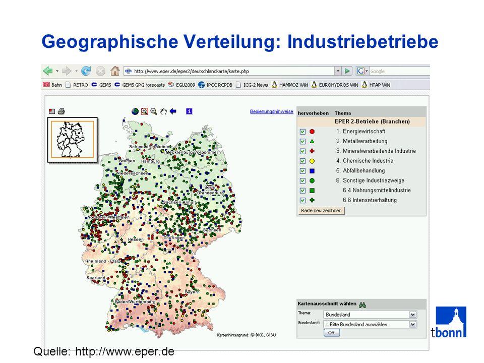 Geographische Verteilung: Industriebetriebe Quelle: http://www.eper.de