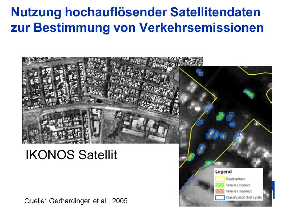 Nutzung hochauflösender Satellitendaten zur Bestimmung von Verkehrsemissionen Quelle: Gerhardinger et al., 2005 IKONOS Satellit