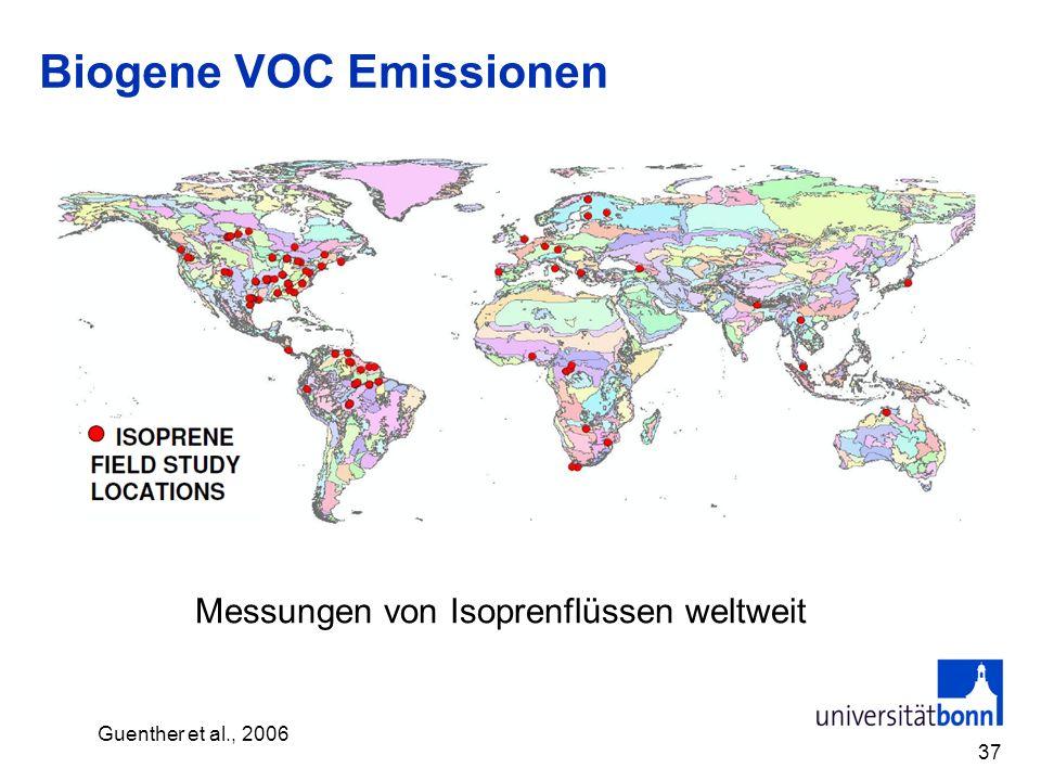 Biogene VOC Emissionen 37 Messungen von Isoprenflüssen weltweit Guenther et al., 2006