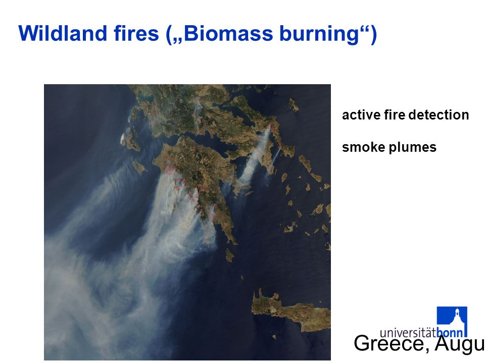 Wildland fires (Biomass burning) Greece, August 2007 active fire detection smoke plumes