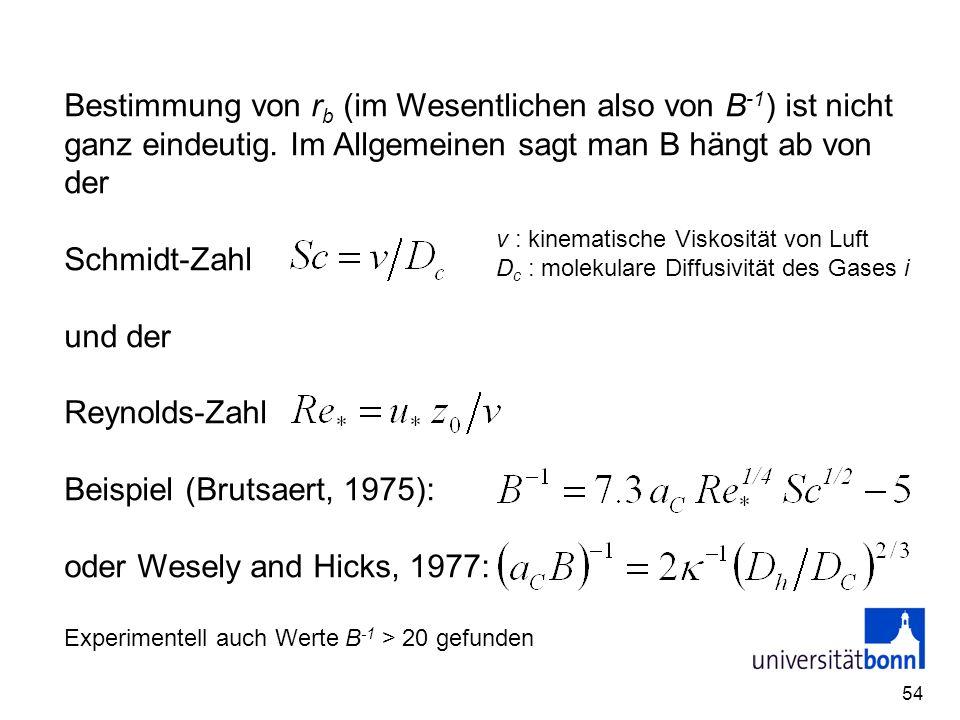 54 Bestimmung von r b (im Wesentlichen also von B -1 ) ist nicht ganz eindeutig. Im Allgemeinen sagt man B hängt ab von der Schmidt-Zahl und der Reyno