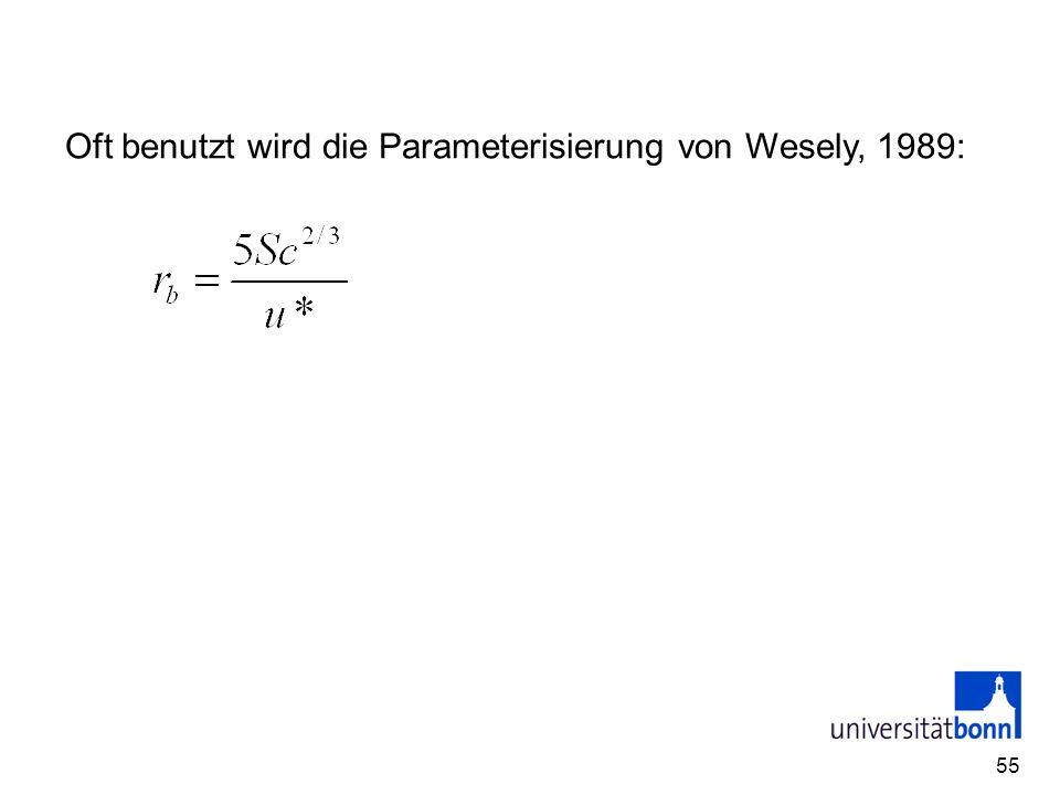 55 Oft benutzt wird die Parameterisierung von Wesely, 1989: