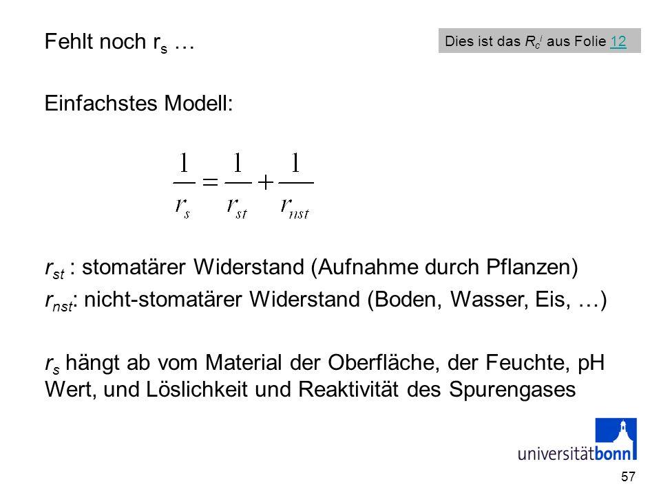 57 Fehlt noch r s … Einfachstes Modell: r st : stomatärer Widerstand (Aufnahme durch Pflanzen) r nst : nicht-stomatärer Widerstand (Boden, Wasser, Eis