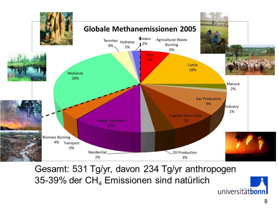 Zeitliche Entwicklung der Methanemissionen 9
