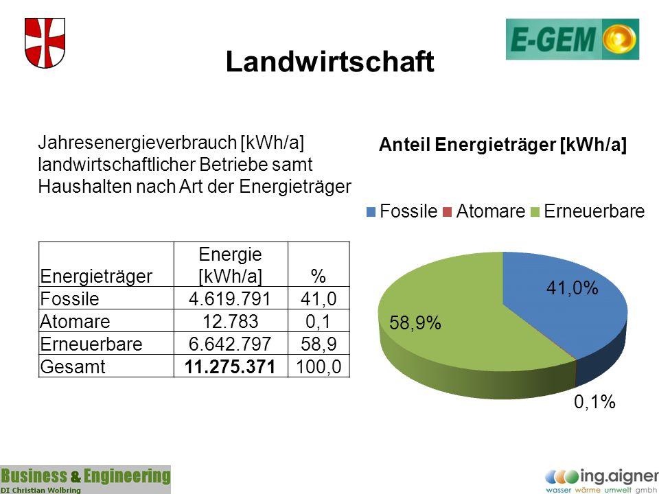 Landwirtschaft Energieträger Energie [kWh/a]% Fossile4.619.79141,0 Atomare12.7830,1 Erneuerbare6.642.79758,9 Gesamt11.275.371100,0 Jahresenergieverbra