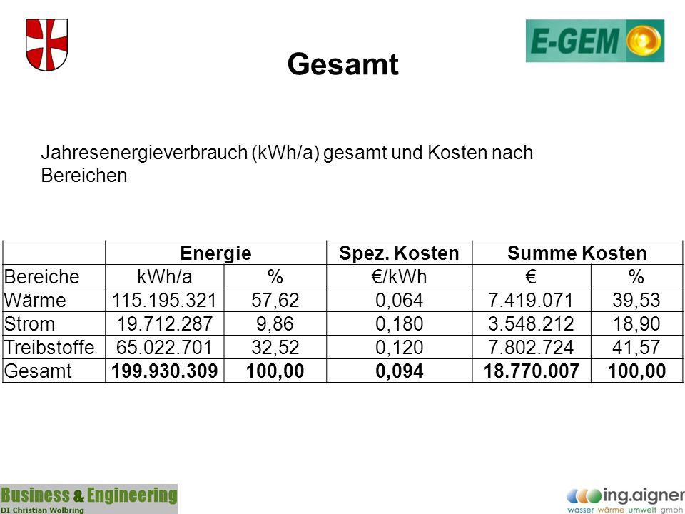 Gesamt EnergieSpez. KostenSumme Kosten BereichekWh/a%/kWh% Wärme115.195.32157,620,0647.419.07139,53 Strom19.712.2879,860,1803.548.21218,90 Treibstoffe