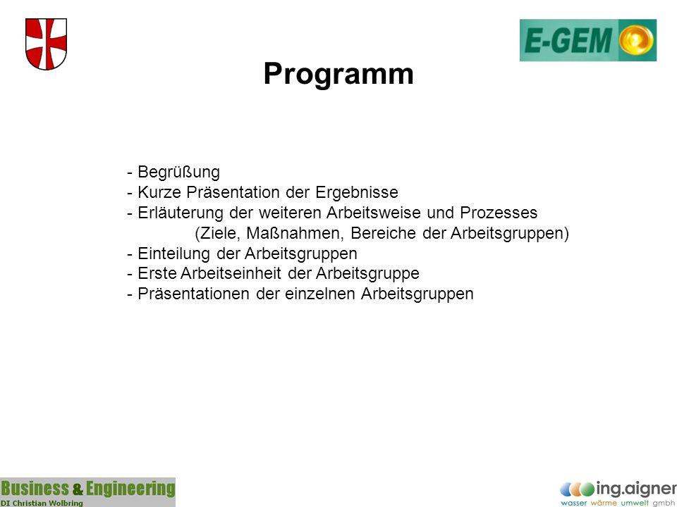 Programm - Begrüßung - Kurze Präsentation der Ergebnisse - Erläuterung der weiteren Arbeitsweise und Prozesses (Ziele, Maßnahmen, Bereiche der Arbeits