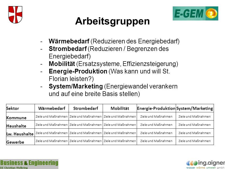 Arbeitsgruppen -Wärmebedarf (Reduzieren des Energiebedarf) -Strombedarf (Reduzieren / Begrenzen des Energiebedarf) -Mobilität (Ersatzsysteme, Effizien