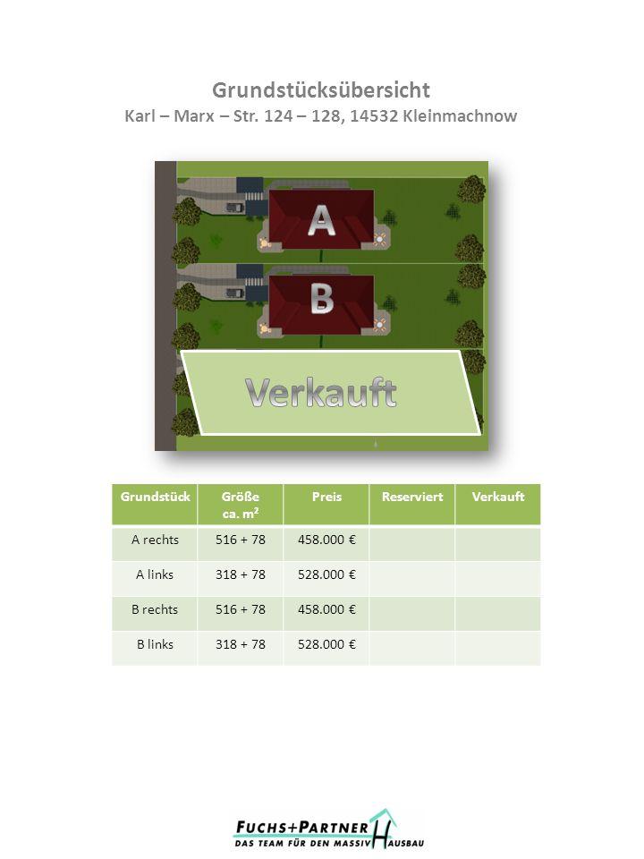 Grundstücksübersicht Karl – Marx – Str. 124 – 128, 14532 Kleinmachnow GrundstückGröße ca. m² PreisReserviertVerkauft A rechts516 + 78458.000 A links31