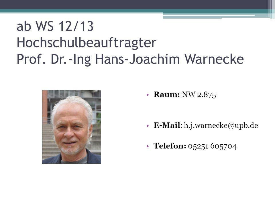 ab WS 12/13 Hochschulbeauftragter Prof. Dr.-Ing Hans-Joachim Warnecke Raum: NW 2.875 E-Mail: h.j.warnecke@upb.de Telefon: 05251 605704