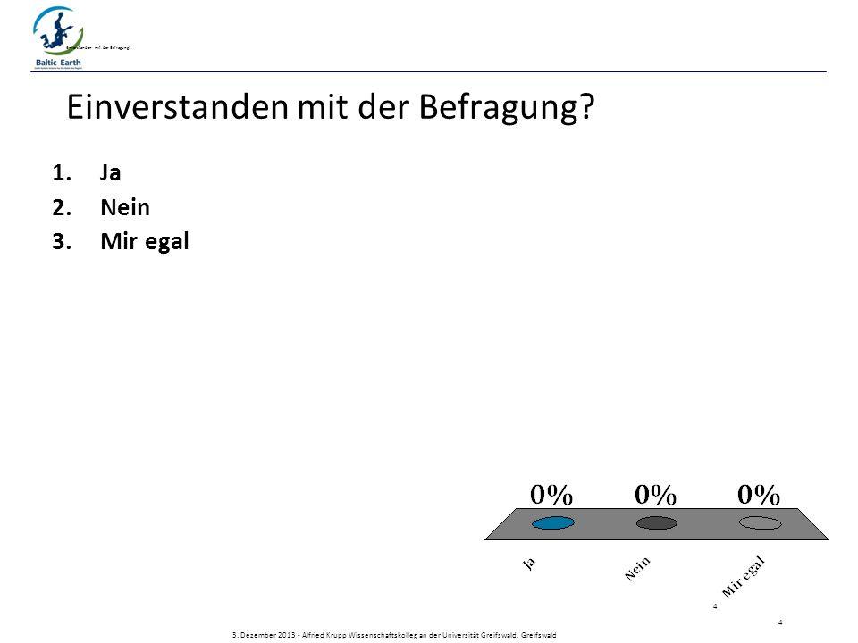1.Ja 2.Nein 3.Mir egal 3. Dezember 2013 - Alfried Krupp Wissenschaftskolleg an der Universität Greifswald, Greifswald Einverstanden mit der Befragung?