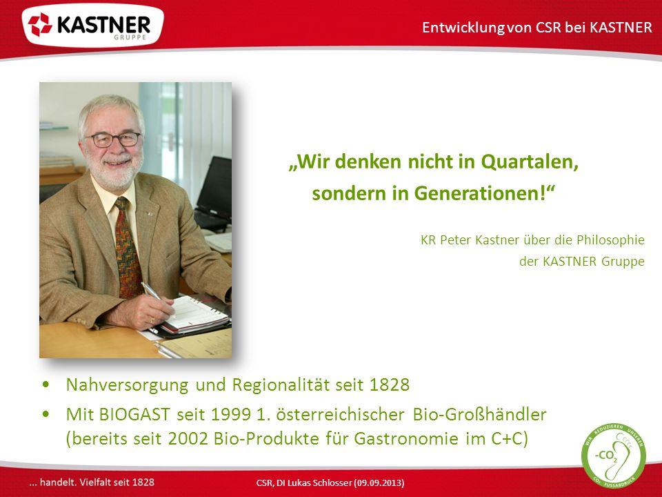 CSR, DI Lukas Schlosser (09.09.2013) Wir denken nicht in Quartalen, sondern in Generationen.