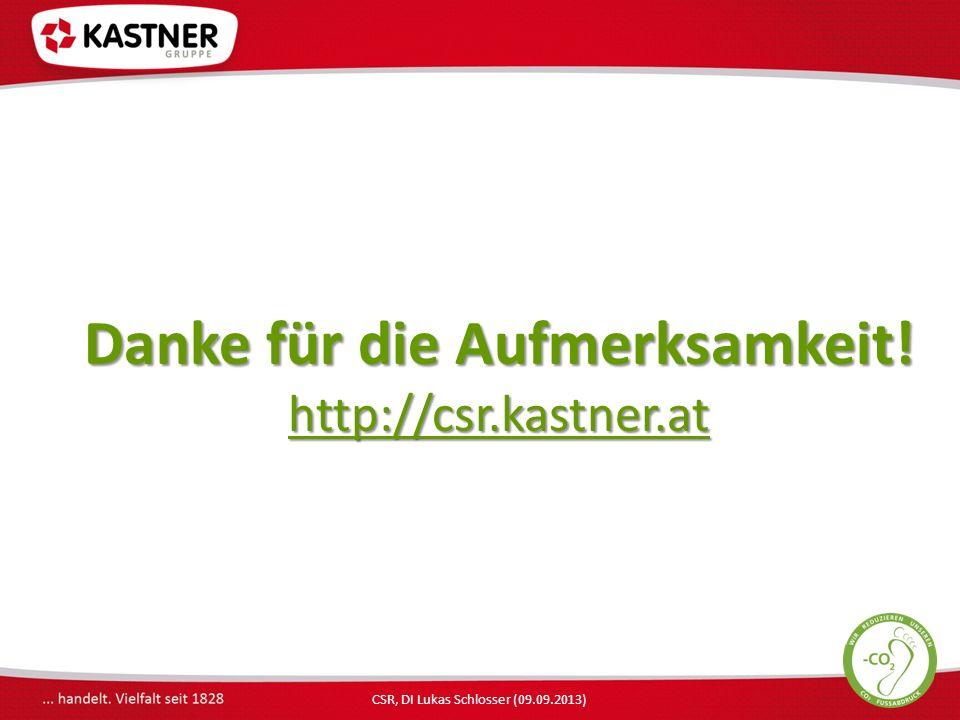 CSR, DI Lukas Schlosser (09.09.2013) Danke für die Aufmerksamkeit! http://csr.kastner.at