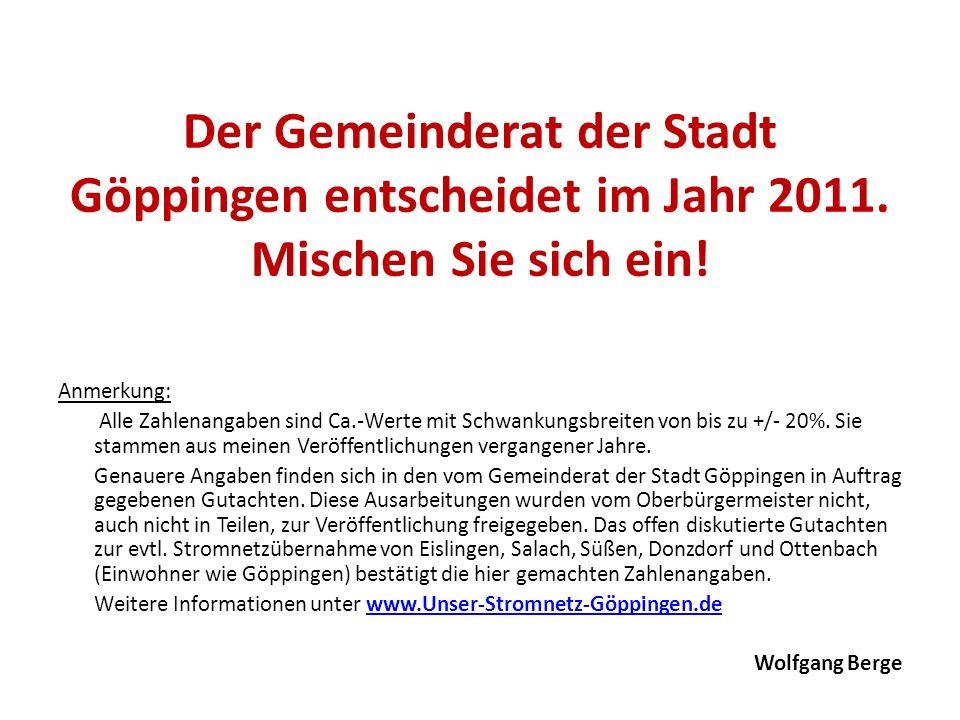 Der Gemeinderat der Stadt Göppingen entscheidet im Jahr 2011. Mischen Sie sich ein! Anmerkung: Alle Zahlenangaben sind Ca.-Werte mit Schwankungsbreite