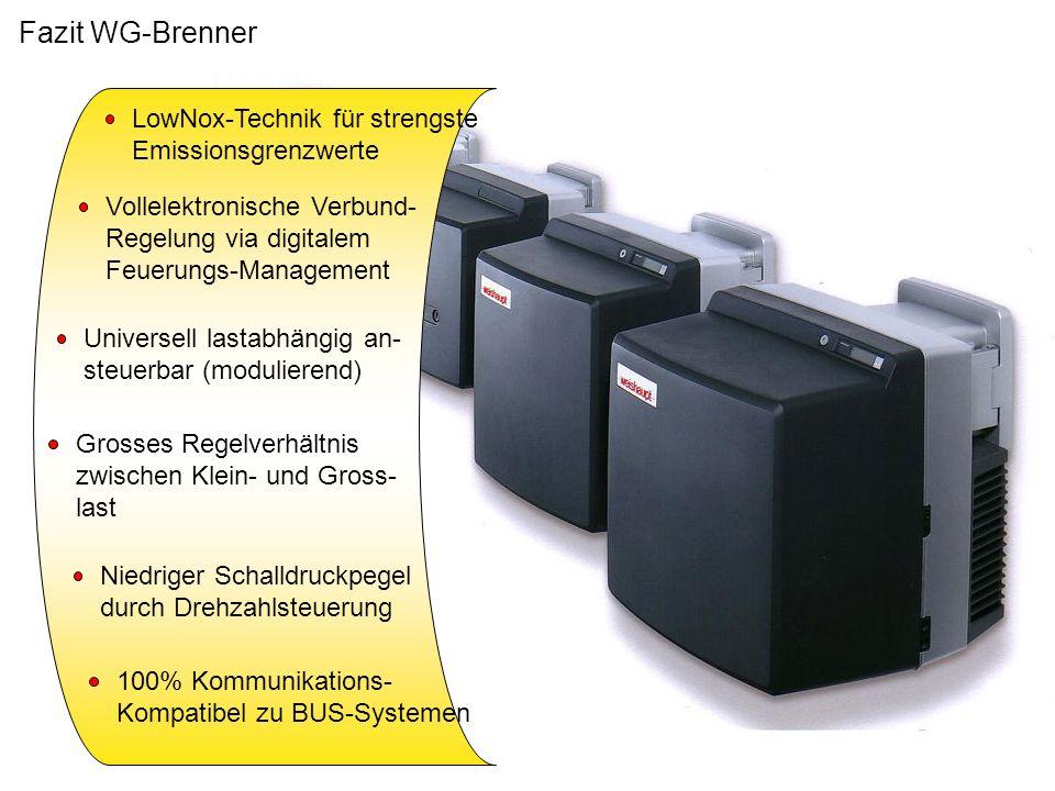 Fazit WG-Brenner LowNox-Technik für strengste Emissionsgrenzwerte Vollelektronische Verbund- Regelung via digitalem Feuerungs-Management Universell la