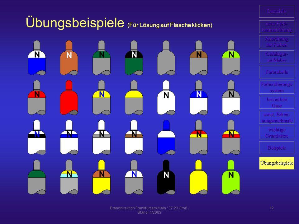 Branddirektion Frankfurt am Main / 37.23 Groß / Stand: 4/2003 12 Übungsbeispiele (Für Lösung auf Flasche klicken) Lernziele neue Farb- neue Farb- kennzeichnung Anordnung der Farben der Farben Farbcodierungs- system Farbtabelle Gefahrgut- aufkleber Beispiele wichtige Grundsätze sonst.