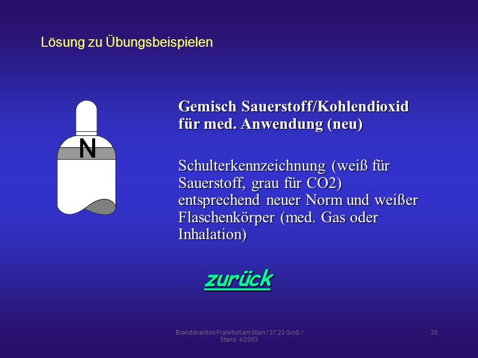 Branddirektion Frankfurt am Main / 37.23 Groß / Stand: 4/2003 30 Lösung zu Übungsbeispielen zurück Gemisch Sauerstoff/Kohlendioxid für med.