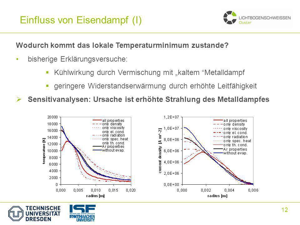 12 Einfluss von Eisendampf (I) Wodurch kommt das lokale Temperaturminimum zustande? bisherige Erklärungsversuche: Kühlwirkung durch Vermischung mit ka