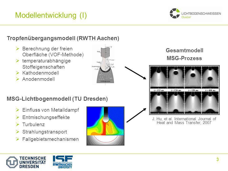 3 Modellentwicklung (I) MSG-Lichtbogenmodell (TU Dresden) Gesamtmodell MSG-Prozess Einfluss von Metalldampf Entmischungseffekte Turbulenz Strahlungstransport Fallgebietsmechanismen Berechnung der freien Oberfläche (VOF-Methode) temperaturabhängige Stoffeigenschaften Kathodenmodell Anodenmodell Tropfenübergangsmodell (RWTH Aachen) J.
