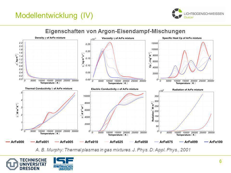 7 ohne Eisendampfmit Eisendampf Einfluss von Eisendampf auf den MSG-Lichtbogen Modellentwicklung (V)