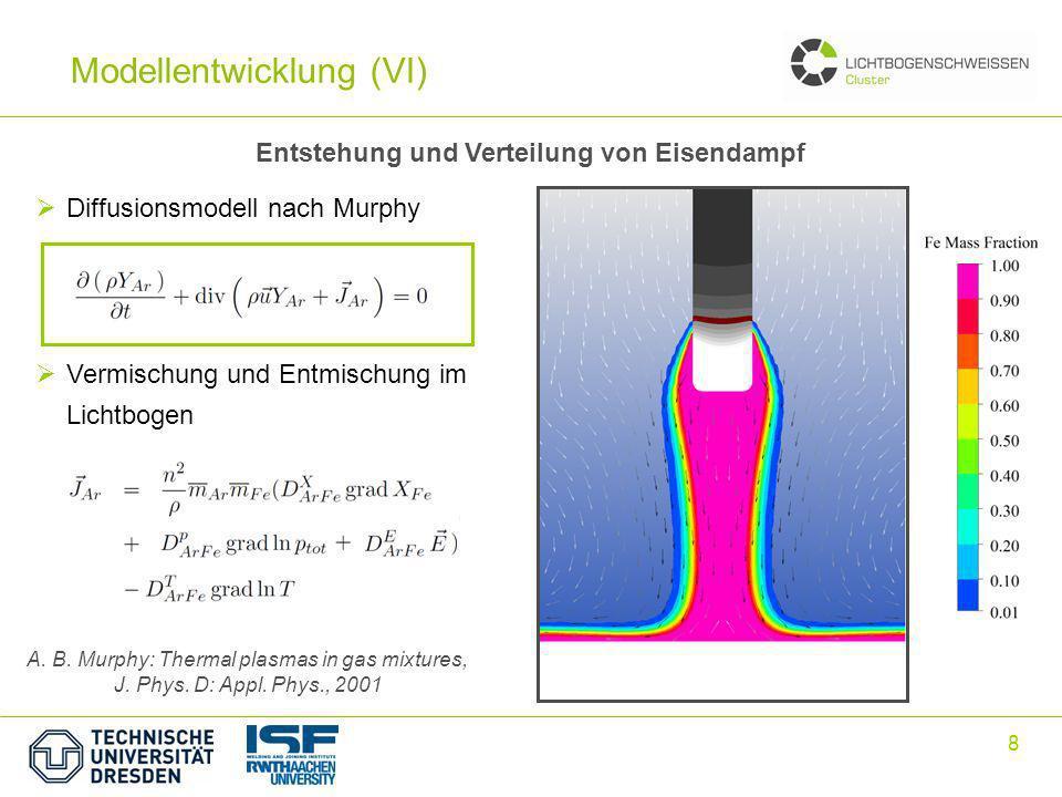 8 Entstehung und Verteilung von Eisendampf A. B. Murphy: Thermal plasmas in gas mixtures, J. Phys. D: Appl. Phys., 2001 Diffusionsmodell nach Murphy V