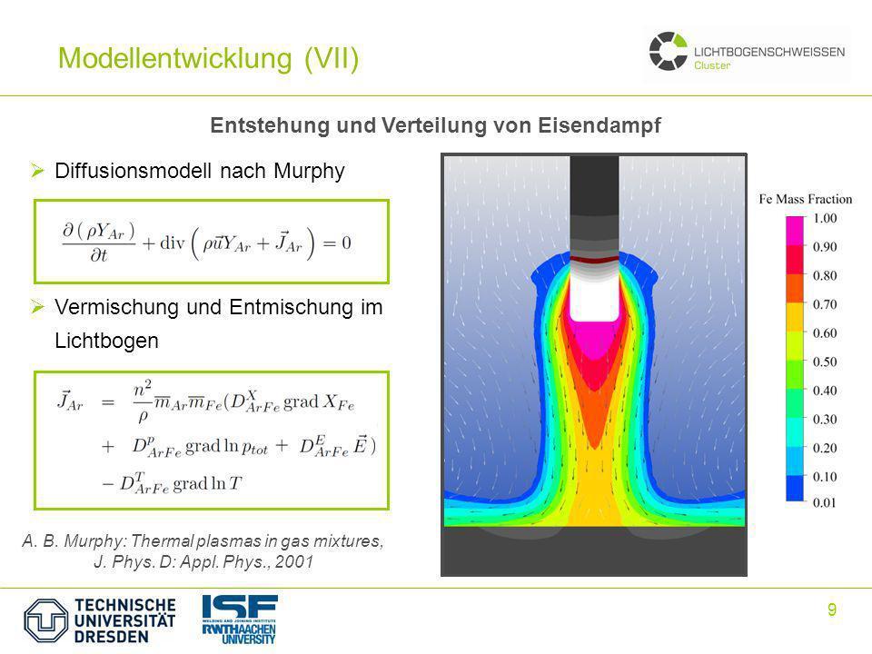 9 Entstehung und Verteilung von Eisendampf A. B. Murphy: Thermal plasmas in gas mixtures, J. Phys. D: Appl. Phys., 2001 Diffusionsmodell nach Murphy V
