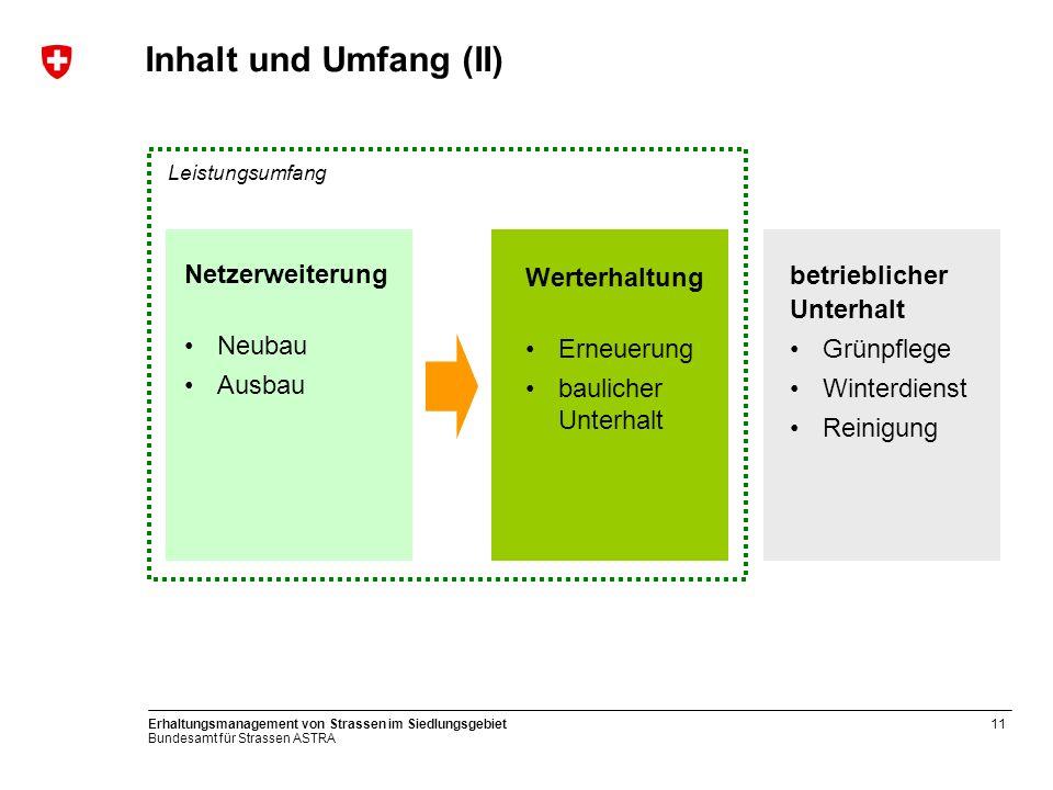 Bundesamt für Strassen ASTRA Erhaltungsmanagement von Strassen im Siedlungsgebiet11 Inhalt und Umfang (II) Werterhaltung Erneuerung baulicher Unterhal