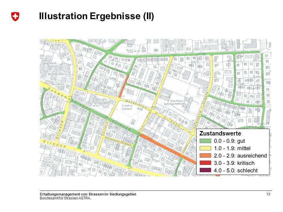 Bundesamt für Strassen ASTRA Erhaltungsmanagement von Strassen im Siedlungsgebiet13 Illustration Ergebnisse (II) 0.0 bis 0.9 1.0 bis 1.9 2.0 bis 2.9 3