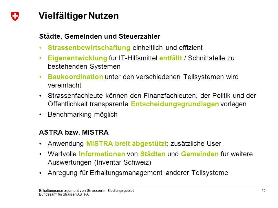 Bundesamt für Strassen ASTRA Erhaltungsmanagement von Strassen im Siedlungsgebiet19 Vielfältiger Nutzen Städte, Gemeinden und Steuerzahler Strassenbew