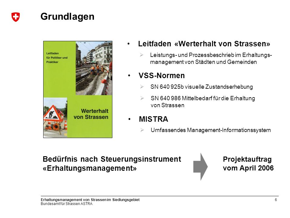 Bundesamt für Strassen ASTRA Erhaltungsmanagement von Strassen im Siedlungsgebiet6 Grundlagen Leistungs- und Prozessbeschrieb im Erhaltungs- managemen