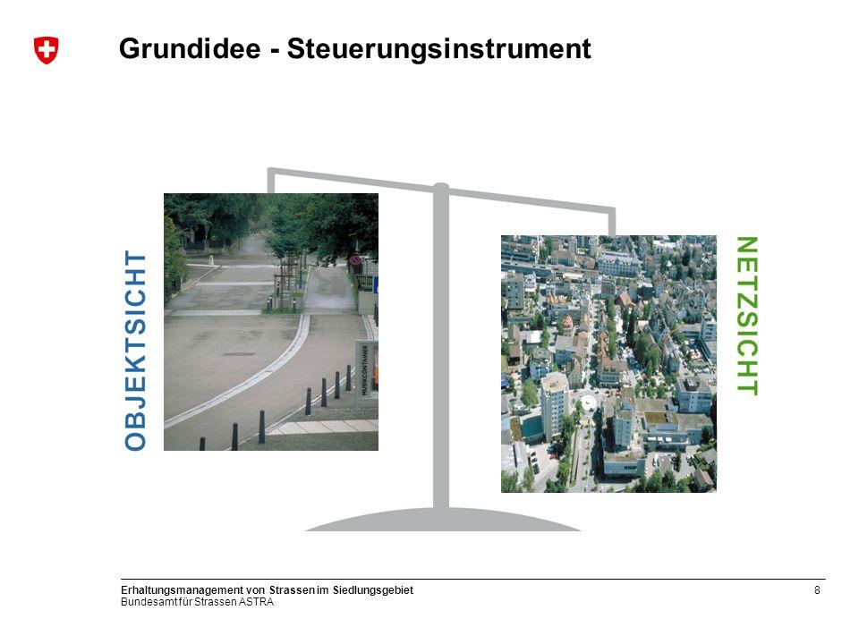 Bundesamt für Strassen ASTRA Erhaltungsmanagement von Strassen im Siedlungsgebiet8 Grundidee - Steuerungsinstrument