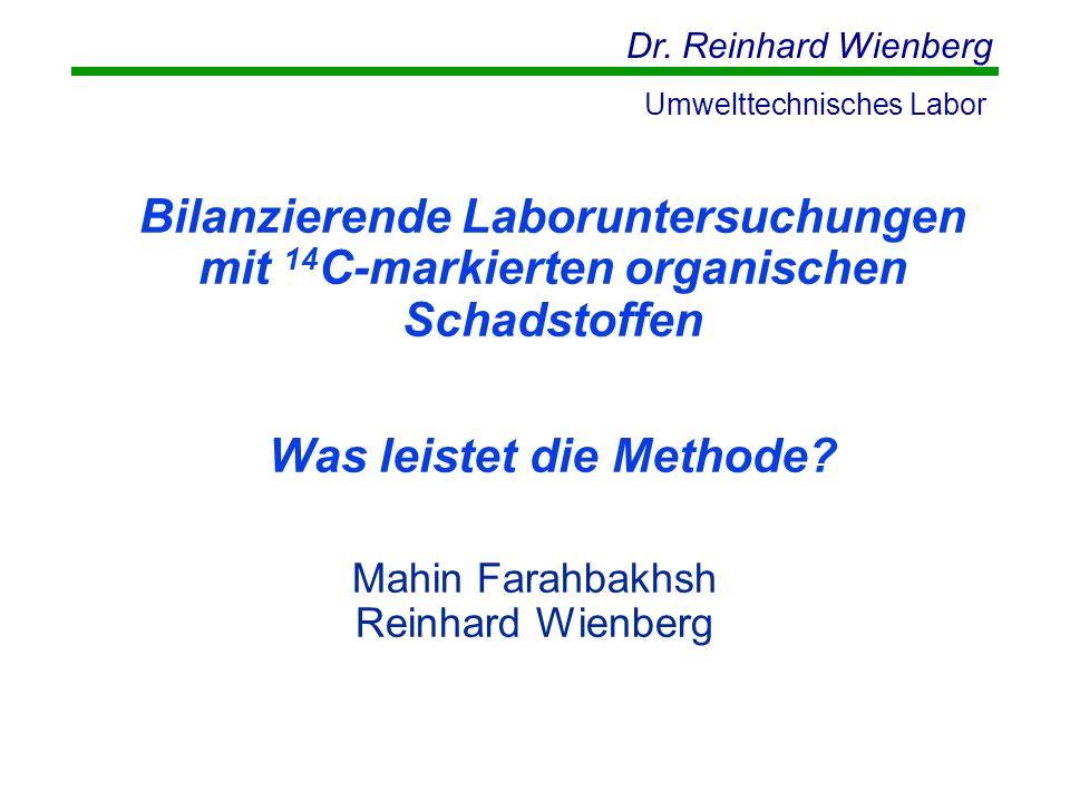 Dr. Reinhard Wienberg Umwelttechnisches Labor Mahin Farahbakhsh Reinhard Wienberg Bilanzierende Laboruntersuchungen mit 14 C-markierten organischen Sc