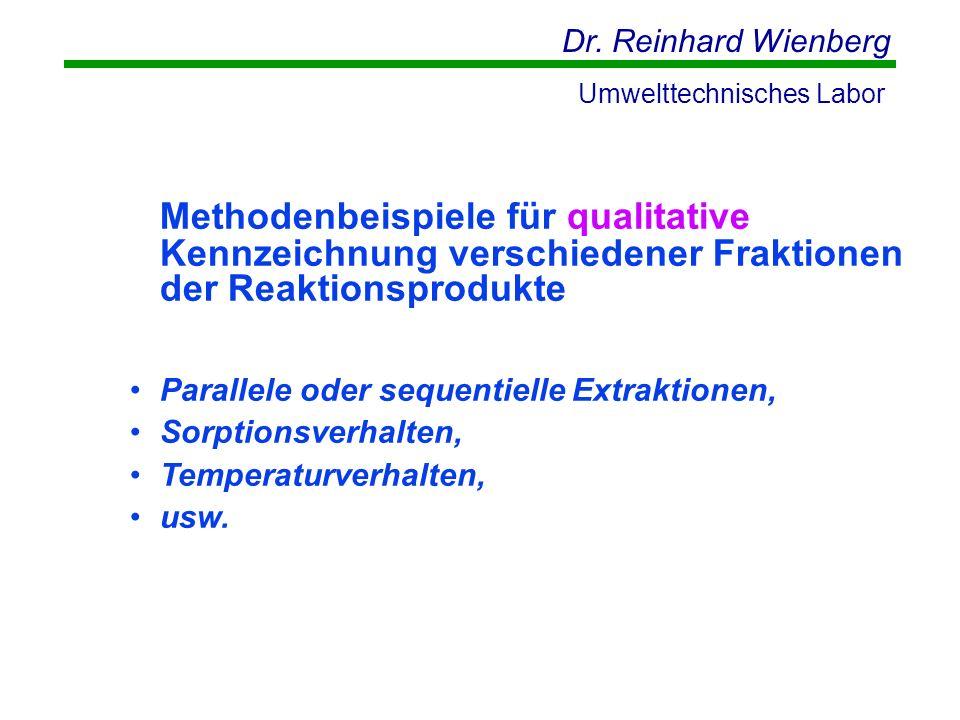 Dr. Reinhard Wienberg Umwelttechnisches Labor Methodenbeispiele für qualitative Kennzeichnung verschiedener Fraktionen der Reaktionsprodukte Parallele