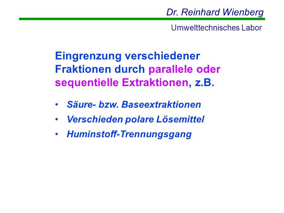 Dr. Reinhard Wienberg Umwelttechnisches Labor Eingrenzung verschiedener Fraktionen durch parallele oder sequentielle Extraktionen, z.B. Säure- bzw. Ba