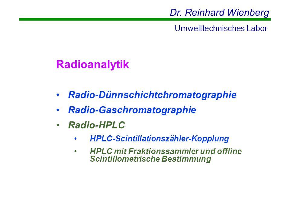 Dr. Reinhard Wienberg Umwelttechnisches Labor Radioanalytik Radio-Dünnschichtchromatographie Radio-Gaschromatographie Radio-HPLC HPLC-Scintillationszä