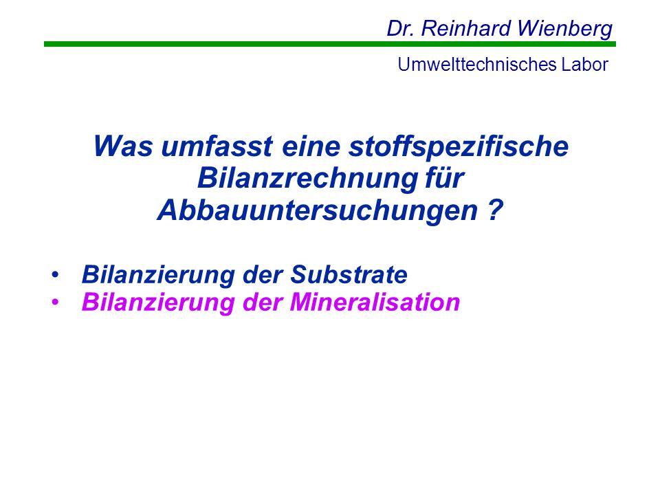 Dr. Reinhard Wienberg Umwelttechnisches Labor Was umfasst eine stoffspezifische Bilanzrechnung für Abbauuntersuchungen ? Bilanzierung der Substrate Bi