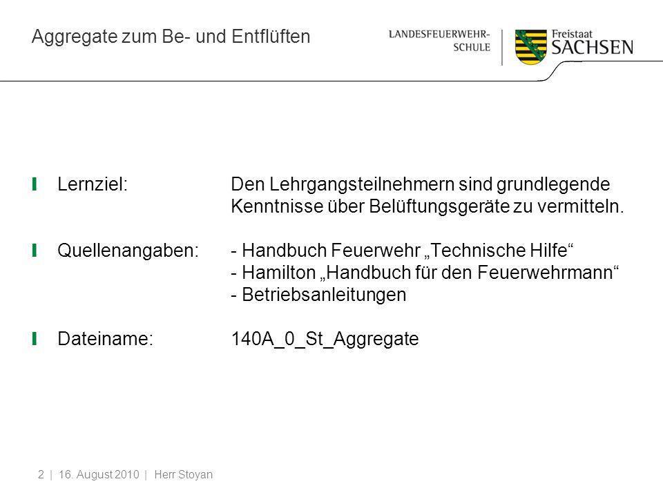 Aggregate zum Be- und Entflüften | 16. August 2010 | Herr Stoyan2 Lernziel:Den Lehrgangsteilnehmern sind grundlegende Kenntnisse über Belüftungsgeräte