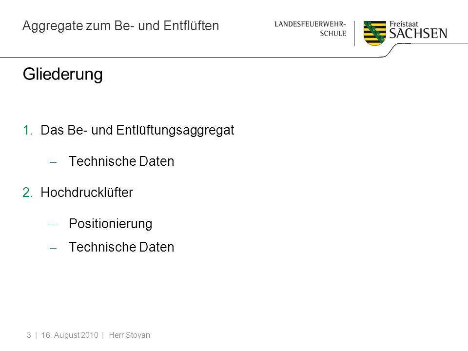Aggregate zum Be- und Entflüften | 16. August 2010 | Herr Stoyan3 Gliederung 1.Das Be- und Entlüftungsaggregat Technische Daten 2.Hochdrucklüfter Posi