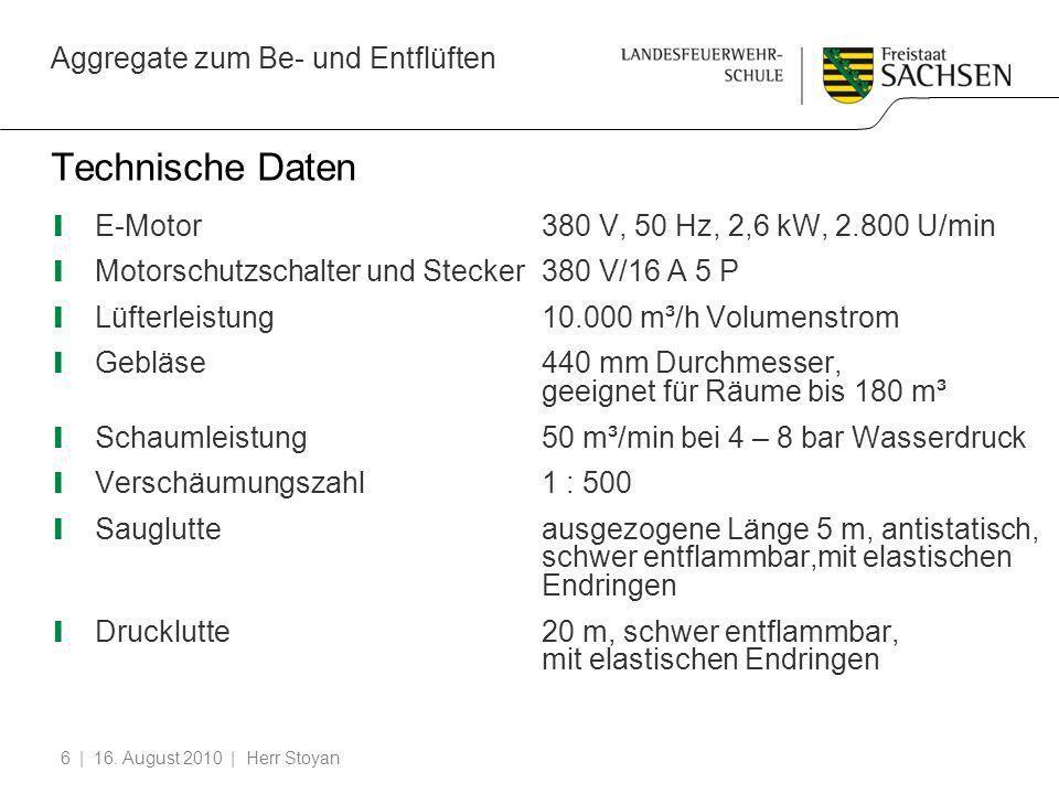 Aggregate zum Be- und Entflüften | 16. August 2010 | Herr Stoyan6 Technische Daten E-Motor380 V, 50 Hz, 2,6 kW, 2.800 U/min Motorschutzschalter und St