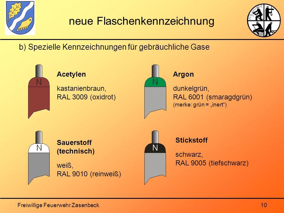Freiwillige Feuerwehr Zasenbeck10 neue Flaschenkennzeichnung b) Spezielle Kennzeichnungen für gebräuchliche Gase Acetylen kastanienbraun, RAL 3009 (oxidrot) Argon dunkelgrün, RAL 6001 (smaragdgrün) (merke: grün = inert) Stickstoff schwarz, RAL 9005 (tiefschwarz) Sauerstoff (technisch) weiß, RAL 9010 (reinweiß)