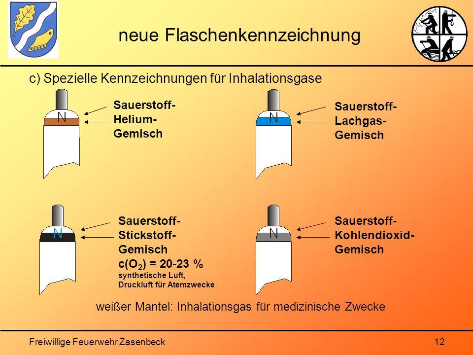 Freiwillige Feuerwehr Zasenbeck12 neue Flaschenkennzeichnung c) Spezielle Kennzeichnungen für Inhalationsgase Sauerstoff- Helium- Gemisch Sauerstoff- Stickstoff- Gemisch c(O 2 ) = 20-23 % synthetische Luft, Druckluft für Atemzwecke Sauerstoff- Lachgas- Gemisch Sauerstoff- Kohlendioxid- Gemisch weißer Mantel: Inhalationsgas für medizinische Zwecke